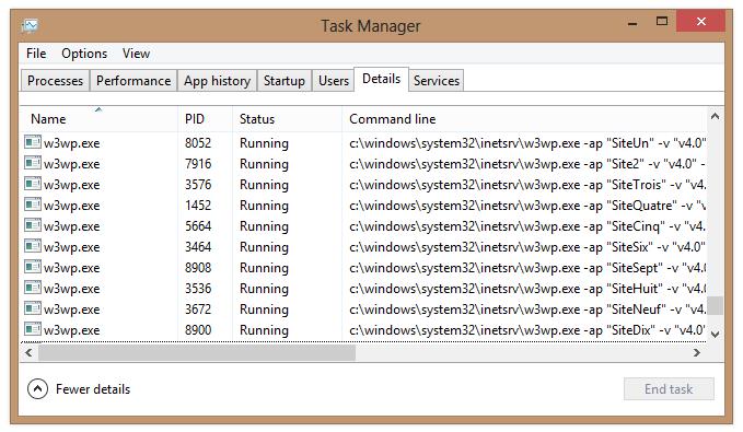 Gestionnaire de tâches avec l'option Command Line activé