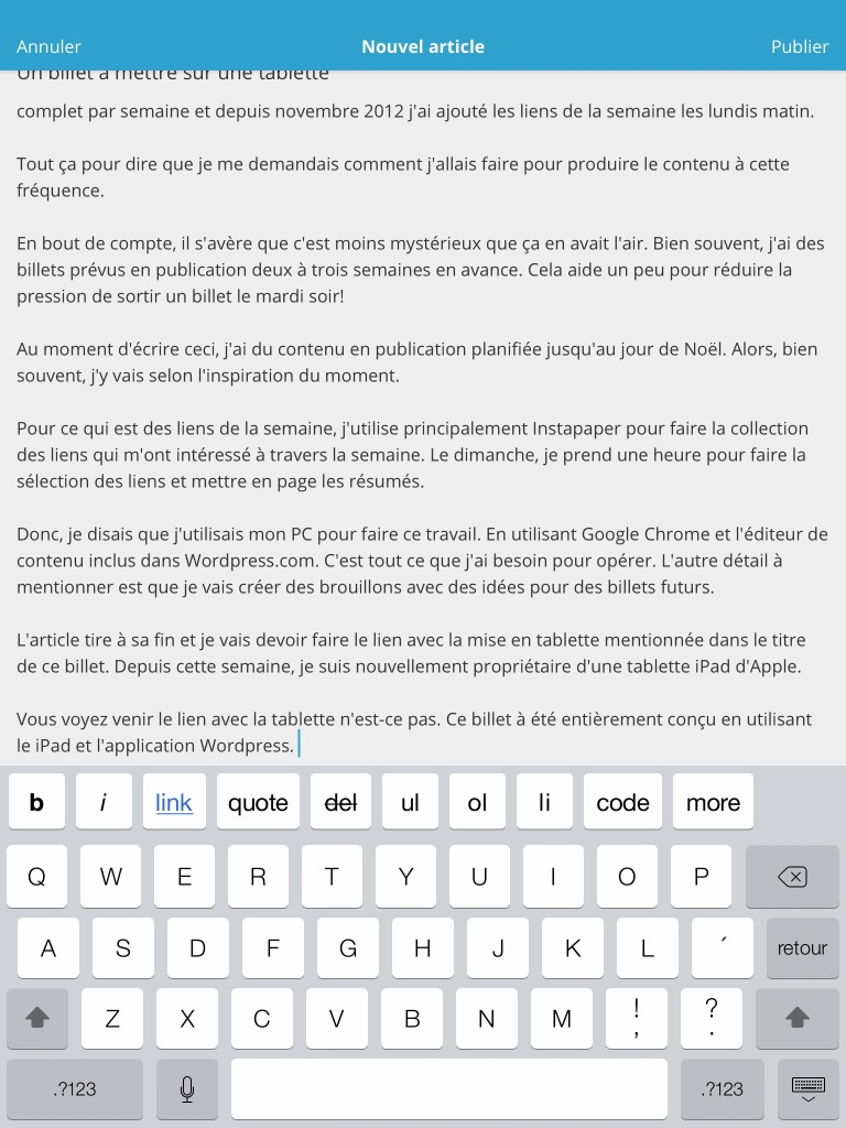 iPad WordPress