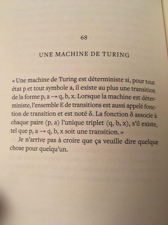 C_est dans le roman que je suis en train de lire (Pomme S d_Eric Plamondon) que j_ai trouvé le meilleur résumé de mon cours de maths de cet automne (maths discrètes).